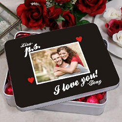 Personalized P.S. I Love You Candy Hearts Tin