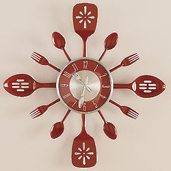Red Kitchen Utensil Clock