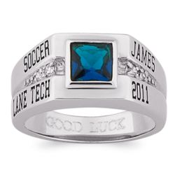 Men's Celebrium Square Stone and Cubic Zirconia Class Ring