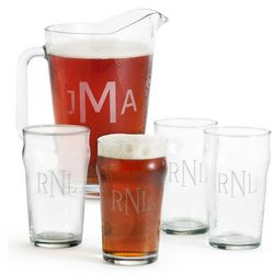 Four British Pint Glasses and Pitcher Set