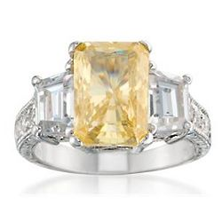 Yellow and Clear Cubic Zirconia Sterling Silver Ring