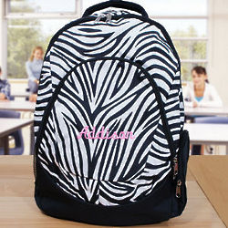Embroidered Zebra Print Backpack