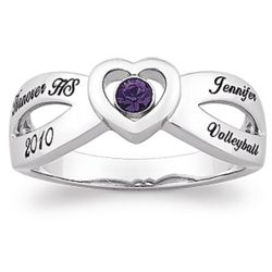 Women's Sterling Silver Cross Over Heart Class Ring