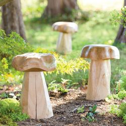 Hand-Carved All-Natural Wooden Mushroom Garden Sculpture