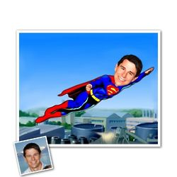 Superman Caricature Print from Photo