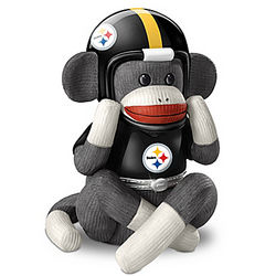Pittsburgh Steelers Sock Monkey Porcelain Tribute Music Box