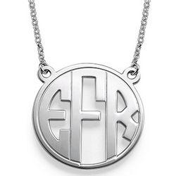 Block Letter Monogram Sterling Silver Necklace