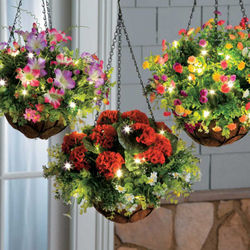 Spring Pre-Lit Hanging Planter Basket