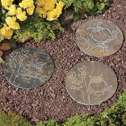 Owl Design Slate Garden Stepping Stone