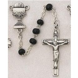 Boy's First Communion Rosary with Black Beads