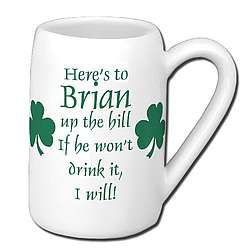 Personalized Irish Beer Mug - Shamrocks