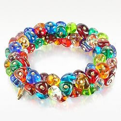 Rubik Murano Glass Drops Stretch Bracelet