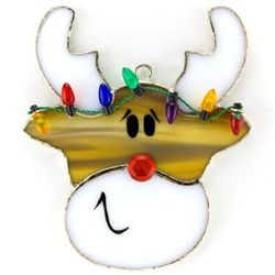 Reindeer Switchable Stained Glass Ornament