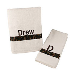 Personalized White Bath & Hand Towel Set with Camouflage Ribbon