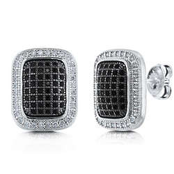 Black and White CZ Sterling Silver Rectangle Earrings