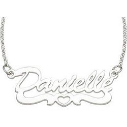 Personalized Sterling Silver Open Heart Script Name Necklace