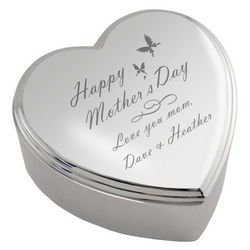 Personalized Mother's Day Heart-Shaped Trinket Box
