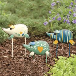 Handmade Recycled Metal Pig Garden Stakes