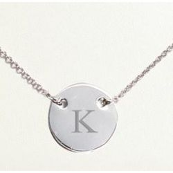 Personalized Silvertone Mediallion Necklace with Initial