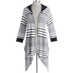 Stripe Cascading Hooded Cardigan