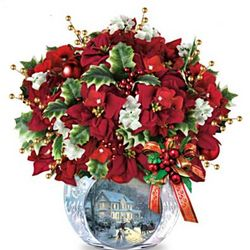 Illuminated Tabletop Holiday Poinsettia Arrangement
