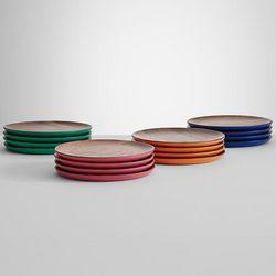 Cobalt Blue Wooden Plate Set