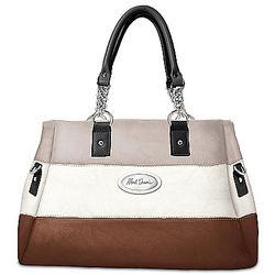 Stripe Satchel Faux Leather Designer Handbag
