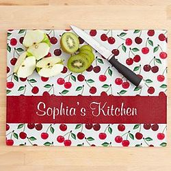 Personalized Cherry Glass Cutting Board