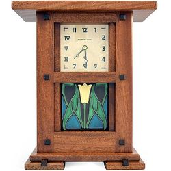 Arts and Crafts Mantel Clock with Lotus Tile