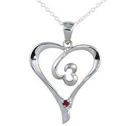 Ruby Double Swirl Heart Pendant in .925 Sterling Silver
