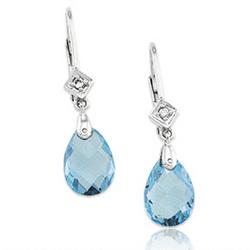 14k White Gold Pear Blue Topaz Drop Diamond Earrings