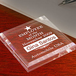 Personalized Employee of the Month/Year Keepsake & Paperweight