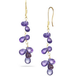 Amethyst Briolette Earrings in 18K Yellow Gold