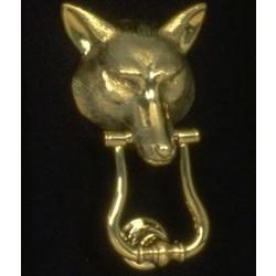 Wolf Mask Brass Door Knocker