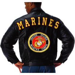 Black US Marines Logo Leather Jacket