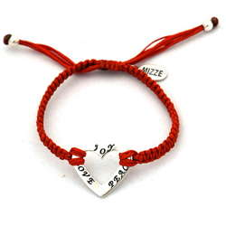 Peace, Love & Joy Heart Red Bracelet
