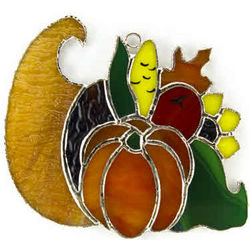 Cornucopia Switchable Stained Glass Ornament/Nightlight