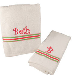 Personalized White Bath & Hand Towel Set with Striped Ribbon