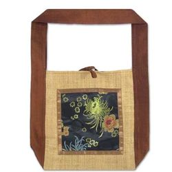 'Brown Poppies' Silk and Hemp Shoulder Bag