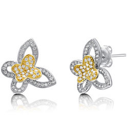Cubic Zirconia Sterling Silver 2-Tone Butterfly Earrings