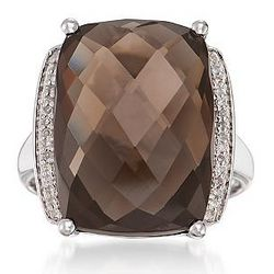 Sterling Silver 12 Carat Smoky Quartz Ring