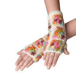 Floral Burst Fingerless Gloves