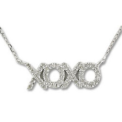 Sterling Silver Diamond XOXO Necklace