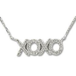 Sterling Silver Diamond XOXO Necklace