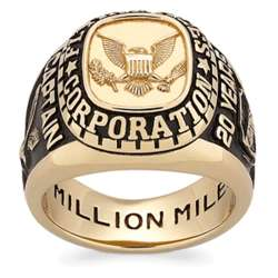 Men's 18K Gold Over Sterling Personalized Top Spirit Class Ring