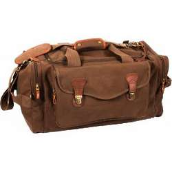 Brown Canvas Weekender Bag with Leather Accents