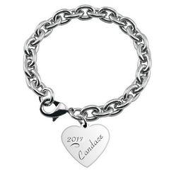 Graduate's Engraved Heart Charm Bracelet