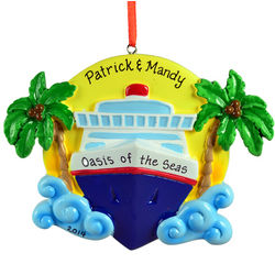Personalized Cruise Ship Palm Trees Christmas Ornament