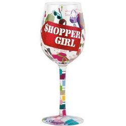 Shopper Girl Wine Glass