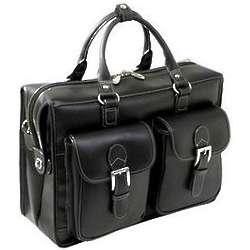 Mezzo Black Leather Double Compartment Laptop Case